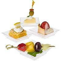 Prextex Mini Dessert Plates 2.5x2.5 - 100 Sturdy Square Clear Mini Plastic Dessert Plates by Prextex
