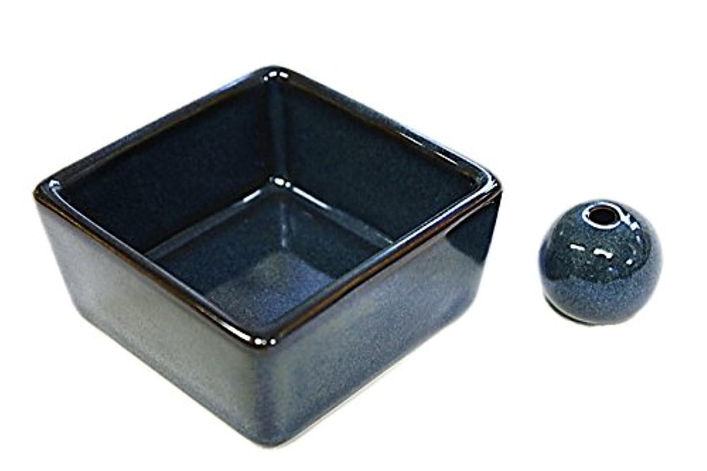力学サドルインド和モダン 海鼠色 お香立て 陶器 角鉢 製造直売品