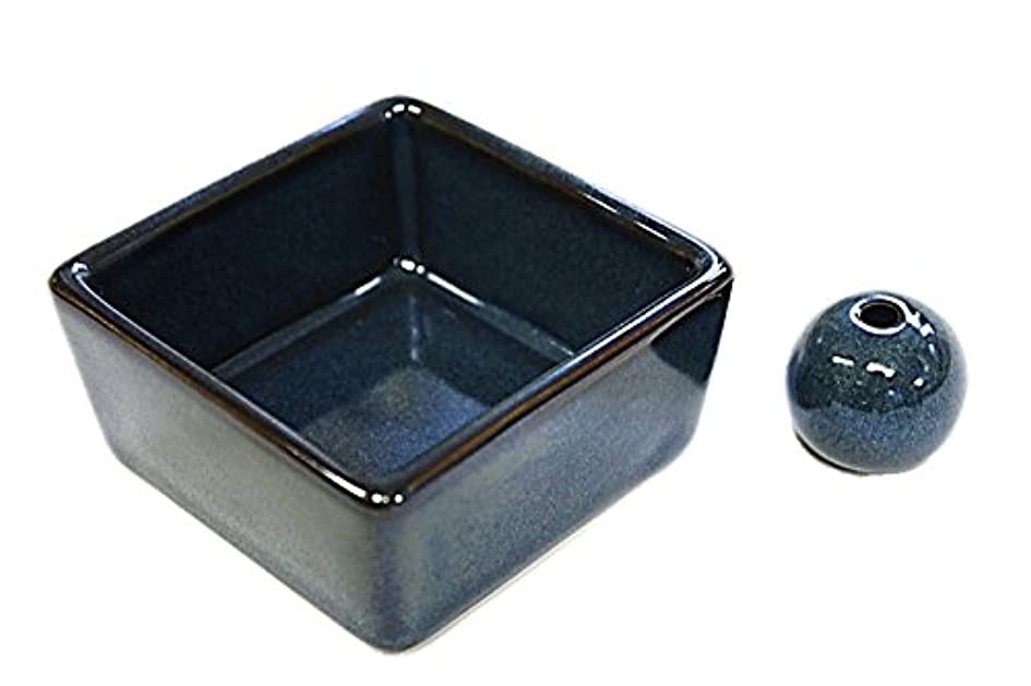 経度衛星突然和モダン 海鼠色 お香立て 陶器 角鉢 製造直売品