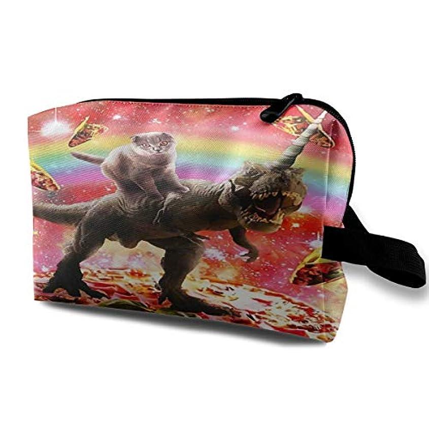 契約する勇気のある第Space Cat Riding Dinosaur Unicorn 収納ポーチ 化粧ポーチ 大容量 軽量 耐久性 ハンドル付持ち運び便利。入れ 自宅?出張?旅行?アウトドア撮影などに対応。メンズ レディース トラベルグッズ