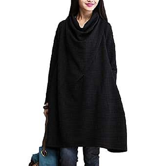 (マーミー) Maamee ハイネック シンプル な 膝丈 ワンピース ゆったり 大きめ あったか 大きいサイズ レッド ブラック Lサイズ XLサイズ (XL, ブラック)