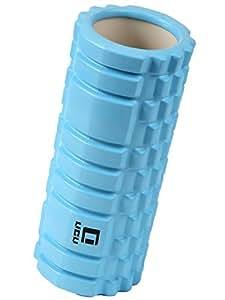 LICLI フォームローラー 筋膜リリース トリガーポイント グリッド ミニ ストレッチローラー 「 マッサージ トレーニング ストレッチ ローラー ハーフ ヨガポール 」「 肩こり 腰痛 」 説明書つき 7色 (アクアブルー)