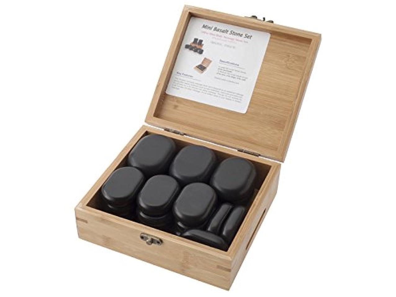 強調何方言玄武岩 ホットストーン 大×6個?中×12個(2種合計18個)セット/専用木製収納ケース付