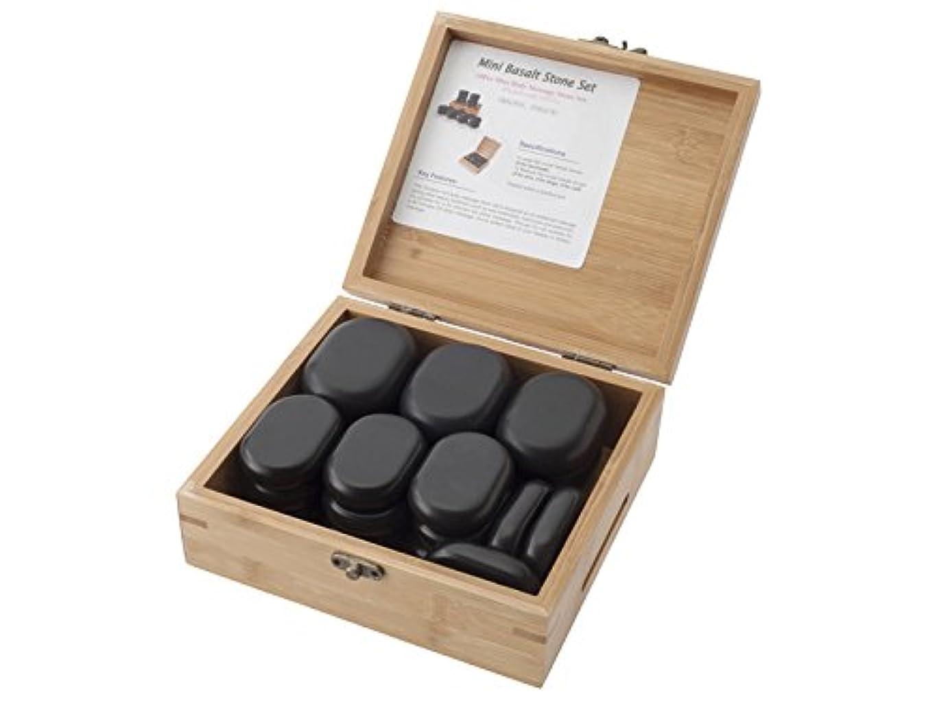 アリーナ第四とまり木玄武岩 ホットストーン 大×6個?中×12個(2種合計18個)セット/専用木製収納ケース付