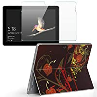 Surface go 専用スキンシール ガラスフィルム セット サーフェス go カバー ケース フィルム ステッカー アクセサリー 保護 クール 花 フラワー 赤 レッド 008653