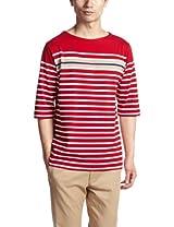 6/10 Sleeve Panel Stripe Boatneck Shirt 3217-113-3270: Red