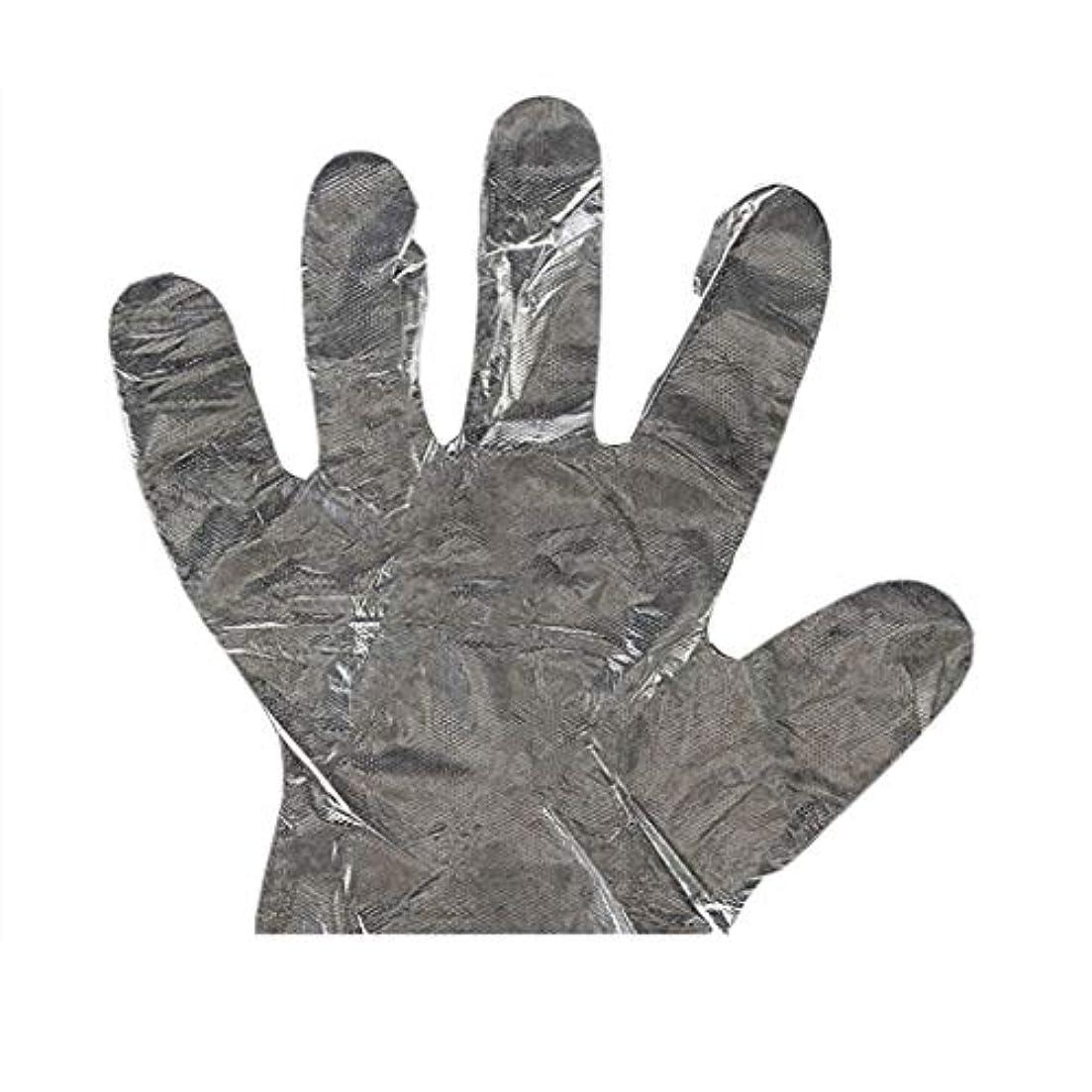 弓累計憧れ手袋の使い捨て手袋PEの衛生的な食糧手袋100パッケージ