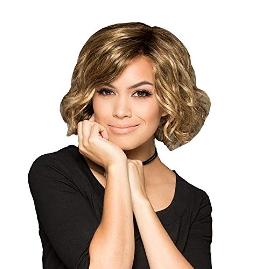 十比喩修復YOUQIU 前髪かつらを持つ女性人工毛のためにブロンド髪ショートボブウィッグ (色 : A)