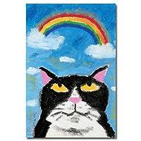 猫の足あと ポストカード 「虹のした」