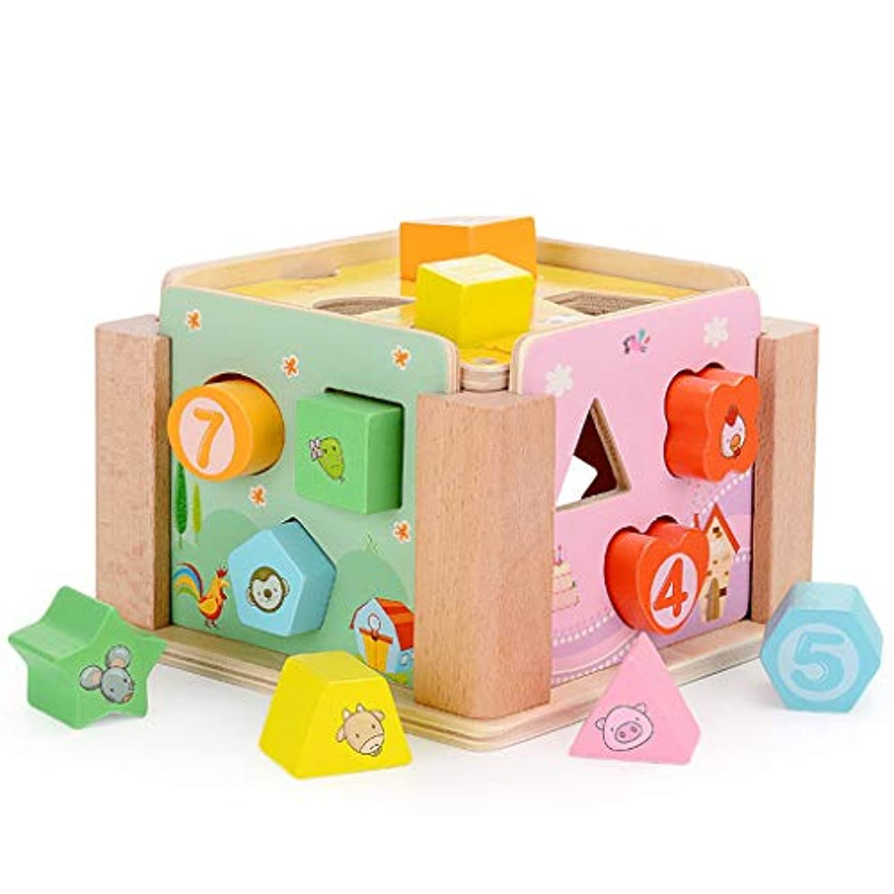 要求見捨てる連邦12の形状分類、色、形状、幾何学的マッチングのために幼児1-3のための完全な木のおもちゃ、 (色 : Multi-colored)