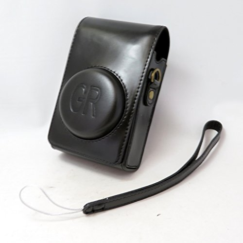 ノーブランド品RICOH リコー GR GRⅡ (GR GR2) 専用 マグネット ケース ショルダー&リストストラップset (ブラック)