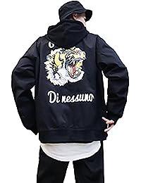 (habille)メンズ ストリート 原宿ファッション スカジャン風 フライトジャケット タイガー プリント ブルゾン おまけ付(2カラー)