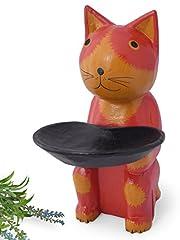 木彫り トレー持ち 猫 【アクセサリーや時計、鍵をちょい置きできる小物入れを兼ねたネコの置物は、実用性を兼ねそなえたインテリアグッズとして大人気! 存在感のある大きさで、贈り物にもお薦め】