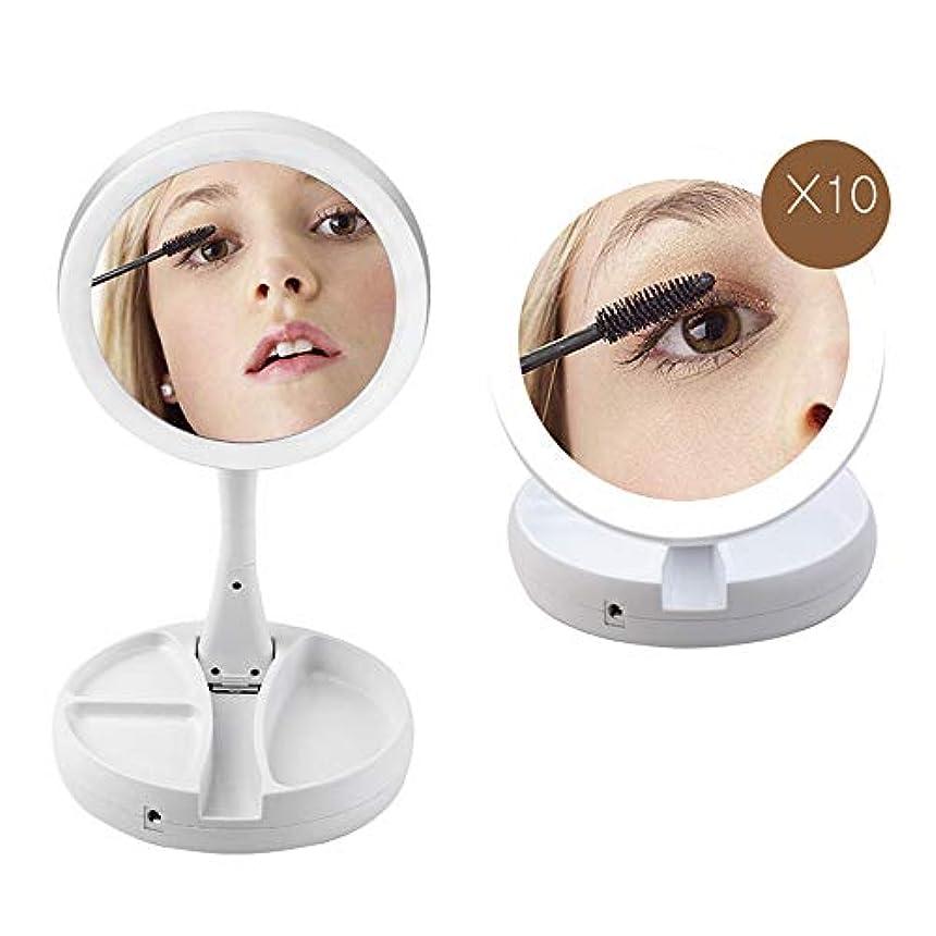良心自分自慢化粧鏡 卓上 等倍と10倍拡大鏡 LED ライト付き 折り畳み式 収納便利 180°回転 USB/電池給電