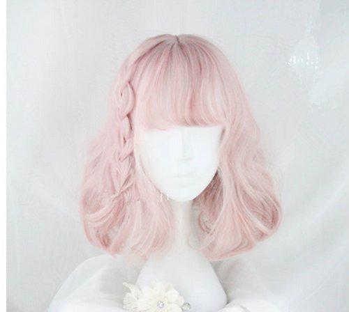 耐熱コスプレウイッグ かつらピンク少女風 30cmロリータ風日常原宿風GAL系小顔効果wig cosplay