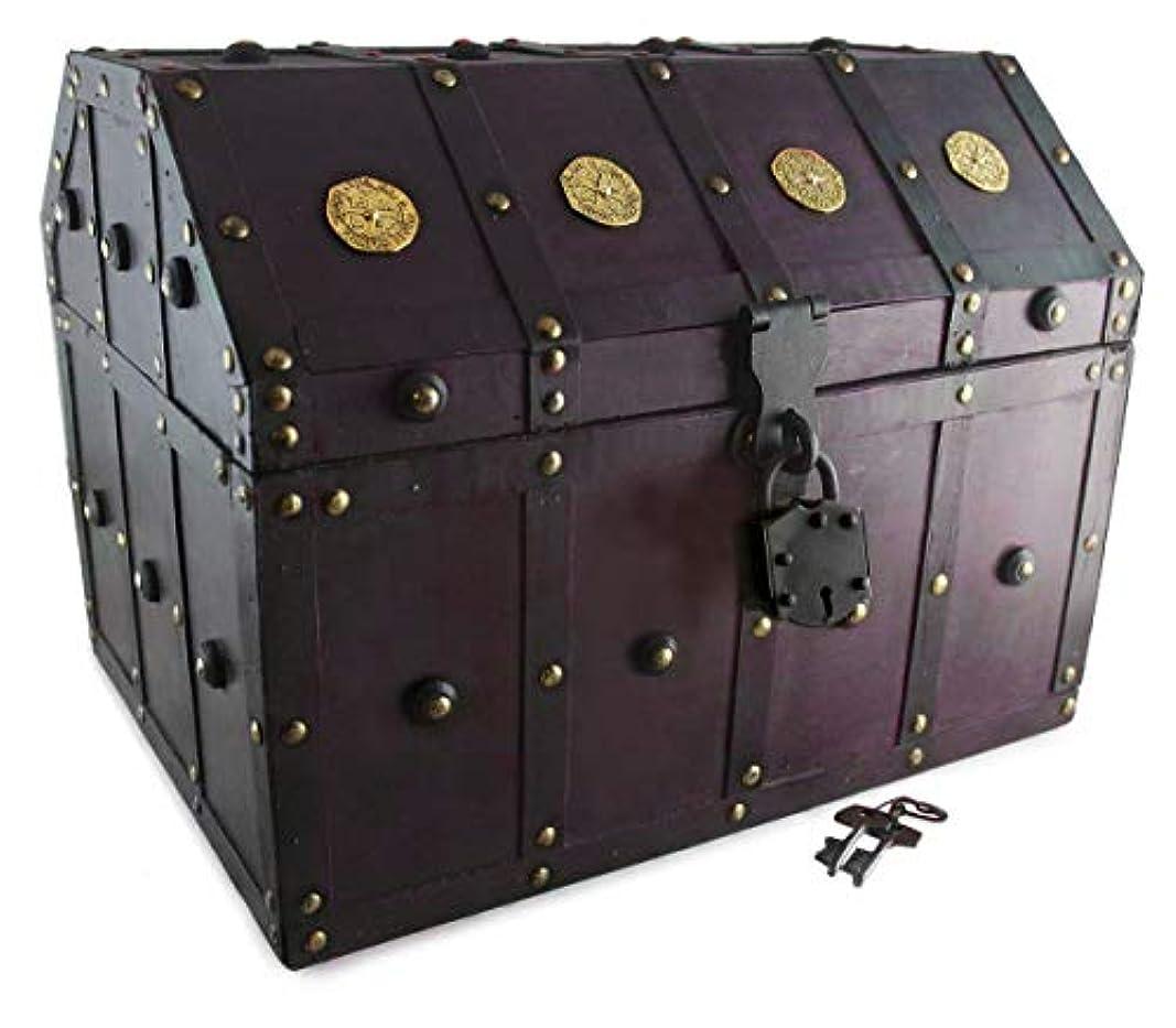 衣類真実ムスタチオWell Pack Box 宝箱 海賊ロック スケルトン 鍵 ダブルブロンドアクセント アンティークチェリーステイン Extra Large レッド