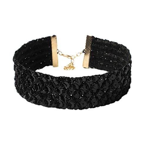 [해외](비굿도) Bigood 반짝 넓은 초커 목걸이 여성 초커 목걸이 액세서리 파티 선물도 (블랙)/(Bigud) Bigood Glittery Broad Choker Necklace Women`s Choker Collar Accessory Party Gifts (Black)