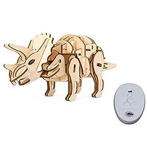 ROBOTIME 動く木製パズル トリケラトプス TRICERATOPS 音声制御 光制御あり レーザーカット 日本語訳説明書付き 94ピース 約410×105×150mm D400