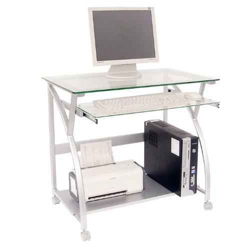 ワイドオープンガラスパソコンデスク シルバー 73150019SL