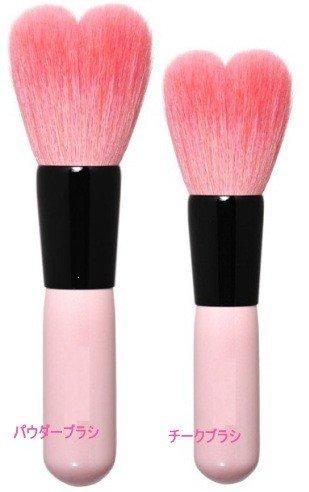 熊野化粧筆 ハート型 パウダーブラシ&チークブラシ セット...