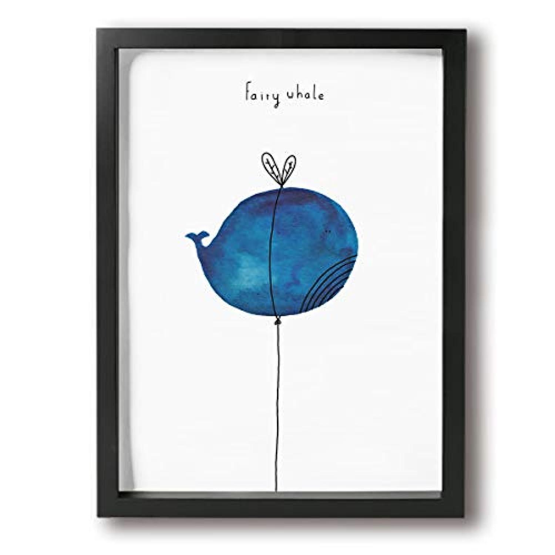 King Duck 風船 イルカ 風船 青い 可愛い 絵画 インテリア フレーム装飾画 アートポスター 壁画 アートパネル 壁掛け 木枠付き Black