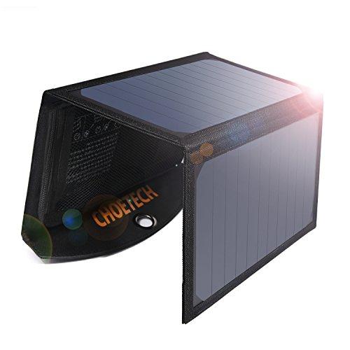 ソーラーチャージャー CHOETECH 超軽量 19W2ポート 折り畳み式 防水 ソーラー充電器 ソーラーパネル iPhone/Galaxy S8 / S7 / スマホ/タブレット/モバイルバッテリー 対応 アウトドア ポータブル充電器