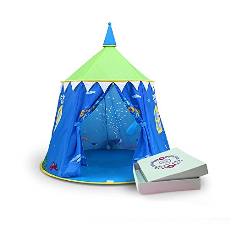 T -子供ゲームテントカラーカートゥーンパターンラウンドYurtsインドアとアウトドアテントおもちゃ( 1つのみテント) ブルー