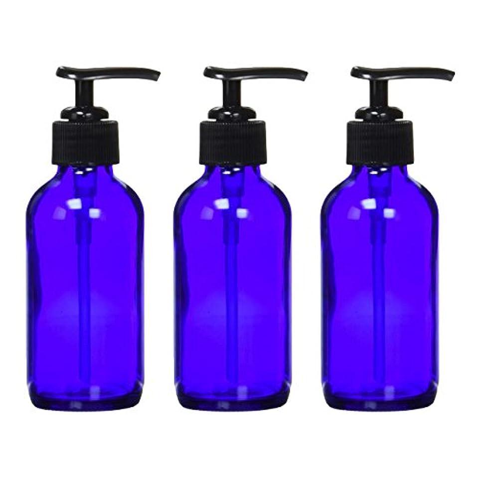 ミンチ異議顎生活の木 青色ガラスポンプ瓶 (遮光瓶) 120ml (3本セット)