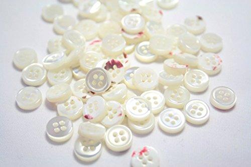 【肉厚高級】17型高瀬貝ボタン9mm天然貝ワイシャツボタンに...