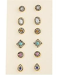 Zranda+ 6 Pairs Set Earrings Alloy Diamond Stud Earring Exquisite Upscale Women Jewelry