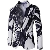 neveraway Men Relaxed-Fit Single Button Long-Sleeve Floral Print Blazer Jackets