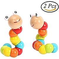 ychoice Lovely赤ちゃんおもちゃギフト子供カラフルパズルCaterpillar Toy Baby Worm Sensoryおもちゃ木製ビーズおもちゃ