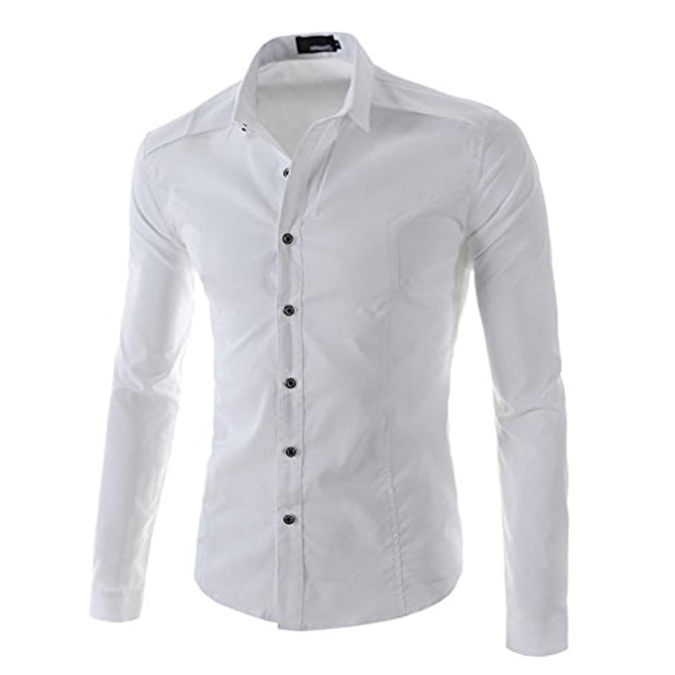 保安貨物脇にHonghu メンズ シャツ 長袖 スリム ホワイト L 1PC