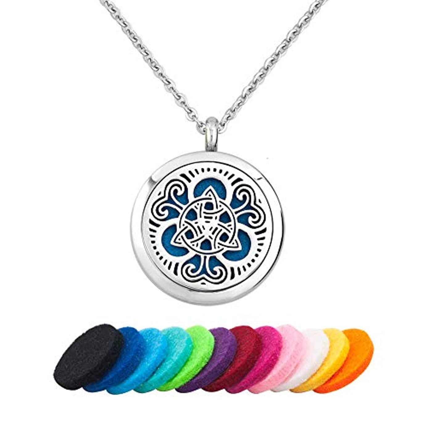 必要ニッケル癌JewelryJo ケルトノットデザイン アロマセラピーエッセンシャルオイルディフューザーネックレス 香水ペンダント 詰め替えパッド付き シルバー