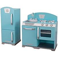 KidKraft 2 Piece Retro Kitchen and Refrigeratorセット、再生キッチンセット、ブルー