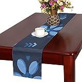 LKCDNG テーブルランナー ブルー 和風の花 クロス 食卓カバー 麻綿製 欧米 おしゃれ 16 Inch X 72 Inch (40cm X 182cm) キッチン ダイニング ホーム デコレーション モダン リビング 洗える