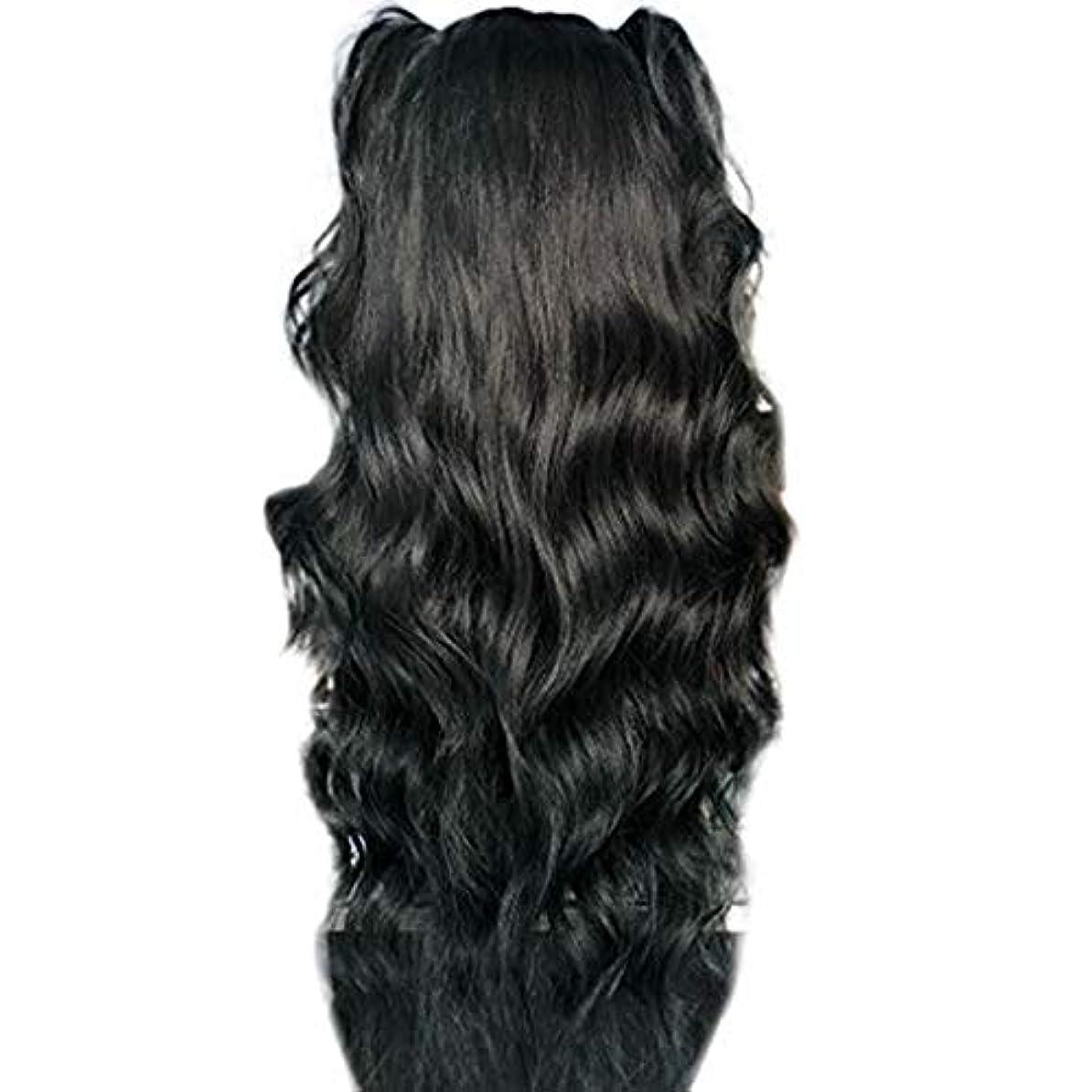柔和有用マッシュかつら女性長い巻き毛の化学繊維高温シルクフロントレースかつら26インチ