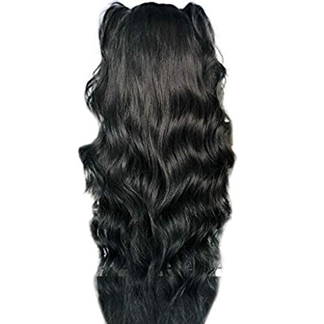 閃光自動的に厳かつら女性長い巻き毛の化学繊維高温シルクフロントレースかつら26インチ