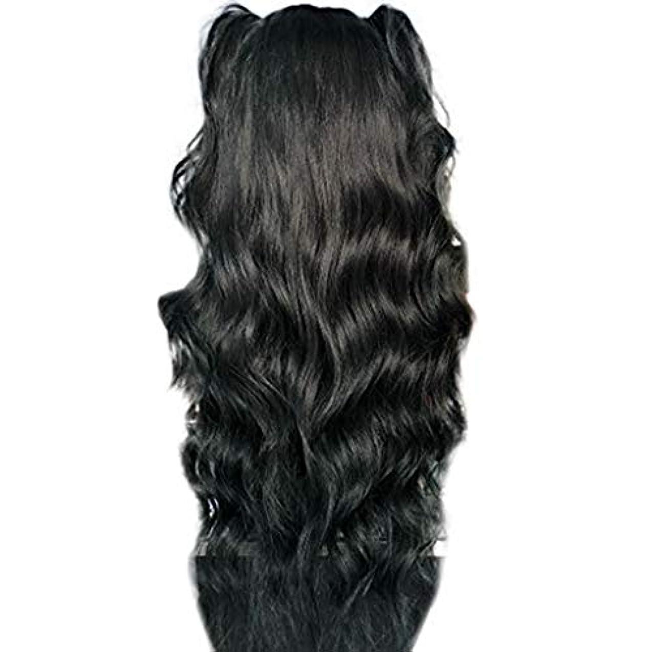 ルート複製有益なかつら女性長い巻き毛の化学繊維高温シルクフロントレースかつら26インチ