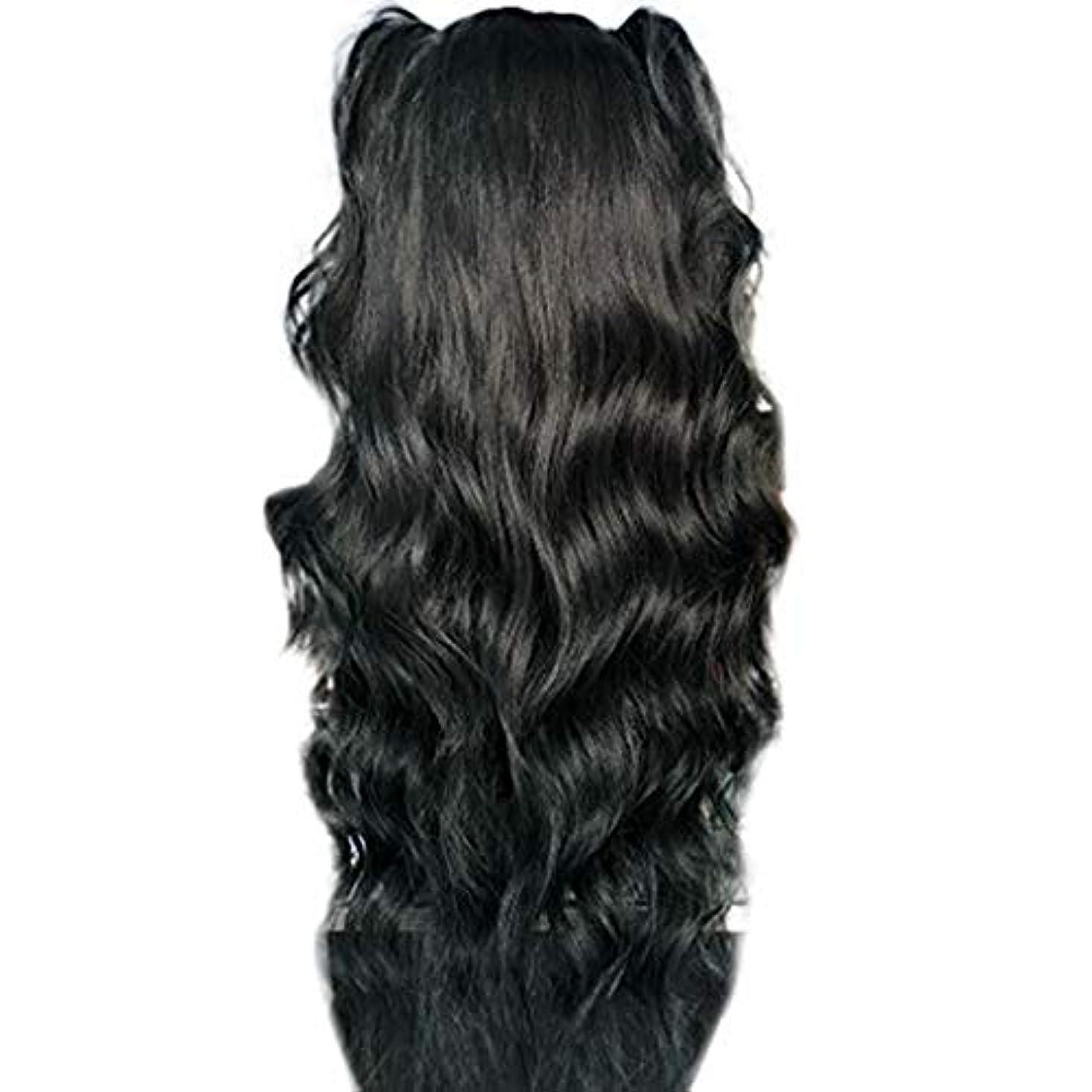 石炭飲食店乳製品かつら女性長い巻き毛の化学繊維高温シルクフロントレースかつら26インチ