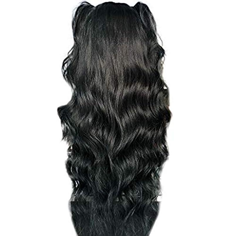 聴覚障害者有効医薬かつら女性長い巻き毛の化学繊維高温シルクフロントレースかつら26インチ