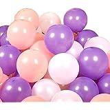 FUPUONE バルーン 誕生日やパーティー向け風船100個入り 空気入れ含む5点セット (ラベンダー/ピンク/ホワイト)