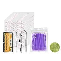 化粧用 まつ毛 エクステンション ツールセット 全4色 目を魅力的 - 紫の