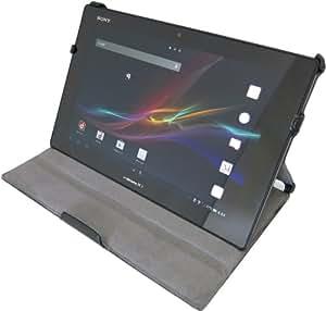 [July] (黄金宮殿オリジナルセットモデル)SONY xperia Tablet Z so-03e 高品質PUレザーケース(自動ON/OFF スタンド機能 角度調節機能付き) 液晶保護フィルムセット ペンシルタッチペン付属(ブラック)