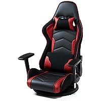 サンワダイレクト ゲーミング座椅子 360度回転 180度リクライニング ハイバック 可動肘 ヘッドレスト クッション付き 150-SNCF005