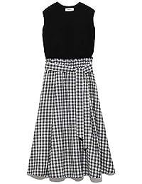 [ミラ オーウェン] ワンピース ニットドッキング麻フレアスカート