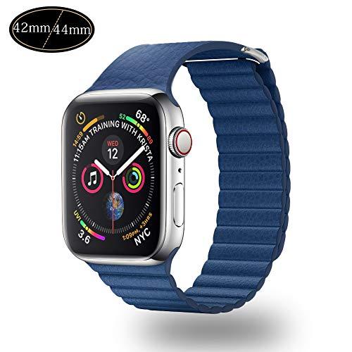 Xboun コンパチブル apple watch バンド,本革 ビジネス用 アップルウォッチバンド マグネットロック Apple Watch Series 4/3/2/1 (42mm/44mm, ブルー)
