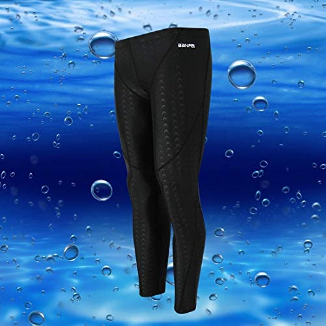 後ファンブルコードレスJOYS CLOTHING 防水速乾性の日焼け止めサメの皮の長い脚の競争の男性の水泳パンツ9ポイント冬の水泳ダイビングサーフィンのトランク (Color : Black black line, Size : XXXL)