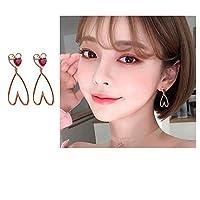 イヤリング2019新しい波の夏の赤い愛のイヤリングシンプルでコンパクトなイヤリング冷たい風の純銀製のイヤリングの韓国語バージョン,ローズゴールド