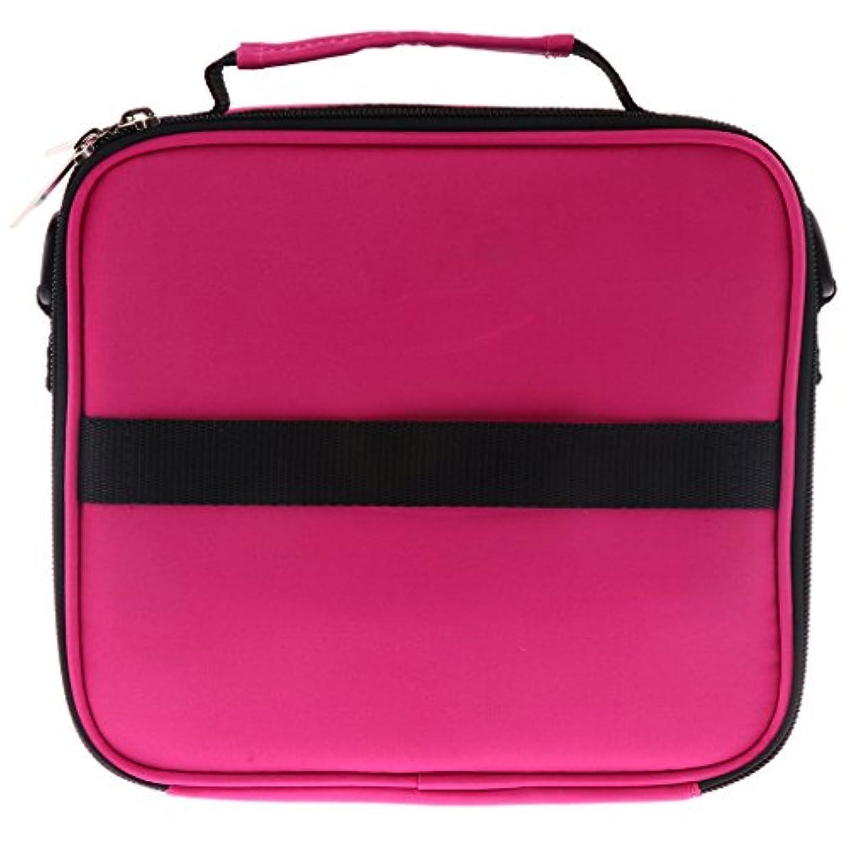 プレゼンアラート最も遠いHellery 全6色 アロマポーチ エッセンシャルオイル ケース 香水収納バッグ アロマケース 携帯用 30本用 - ローズレッド